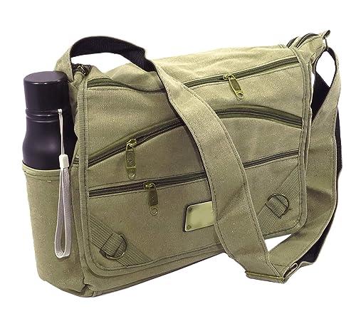 4e2fdac65e NISUN Imported women s Cotton College One Side Shoulder Bag 13 x 4 x 10.5  inch Olive
