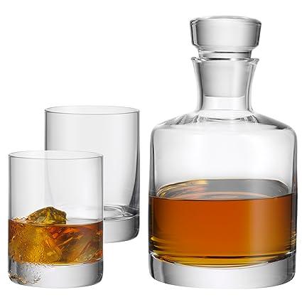 WMF Glass Botella para Whisky con Dos Vasos, Vidrio