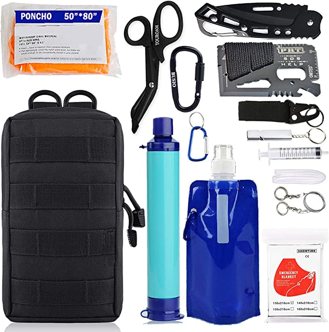 Details about  /Portable Water Filter Straw Purifier Camping Emergency Gear Survival Tool Blue