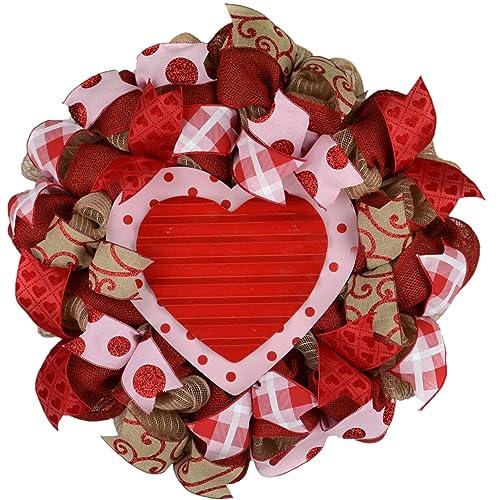 SKU 274 front door wreath Valentine Valentine heart wreath gift for her floating glass heart Valentine wreath red rose heart wreath