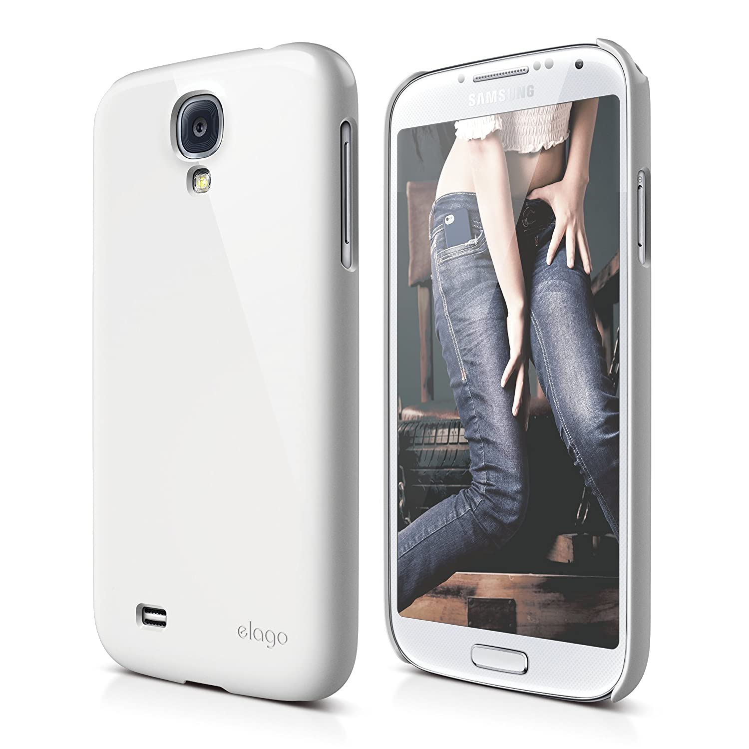 elago G7 Slim Fit Case for Galaxy S4 + HD Professional Extreme Clear film included - Full Retail Packaging (White)