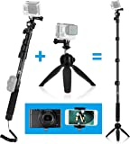 CamKix Premium 3in1 Telescopic Pole 16 - 47 Inch and Tripod Base Kit for GoPro Fusion, Hero 6, Hero 5, Black, Session, Hero 4, Session, Black, Silver, Hero+ LCD, 3+, 3, 2, 1, - Strong Lock - 47""