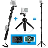 Premium 3in1 Telescopic Pole 16 - 47 Inch and Tripod Base Kit for GoPro Hero 5, Black, Session, Hero 4, Session, Black, Silver, Hero+ LCD, 3+, 3, 2, 1, Camera and Smartphone - Strong Lock - 47 Inch