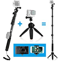 CamKix 3in1 Telescopic Pole 16 - 47 Inch and Tripod Base Kit compatible with GoPro Hero 7 / 6 / 5 / 4, Session, Black, Silver, Hero+ LCD, 3+, 3, 2, 1, Camera and Smartphone - Strong Lock System - Elevate 47 Inch