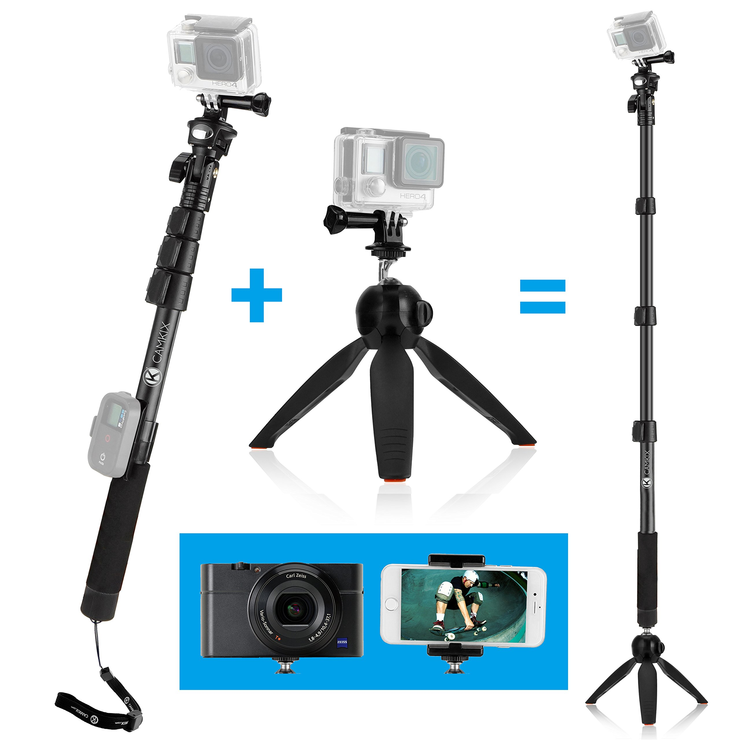 CamKix Premium 3in1 Telescopic Pole 16-47 Inch & Tripod Base Kit Compatible with GoPro Hero 7, 6, Fusion, 5, Black, Session, Hero 4, Session, Black, Silver, DJI Osmo Action, Camera + Smartphone by CamKix