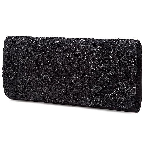 Damentaschen Gut Damen Clutch Satin Handtasche Brauttasche Elegante Abendtasche Schwarz Taschen