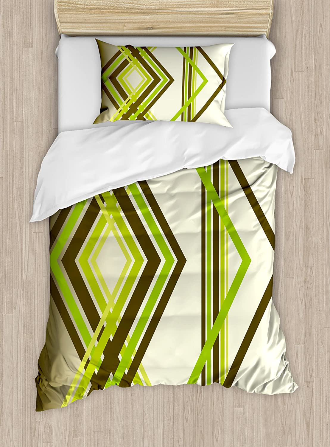 Ambesonne Abstract Duvet Cover Set, Geometric Diamond Shape Bands in Various Shades Illustration, Decorative 2 Piece Bedding Set with 1 Pillow Sham, Twin Size, Army Green