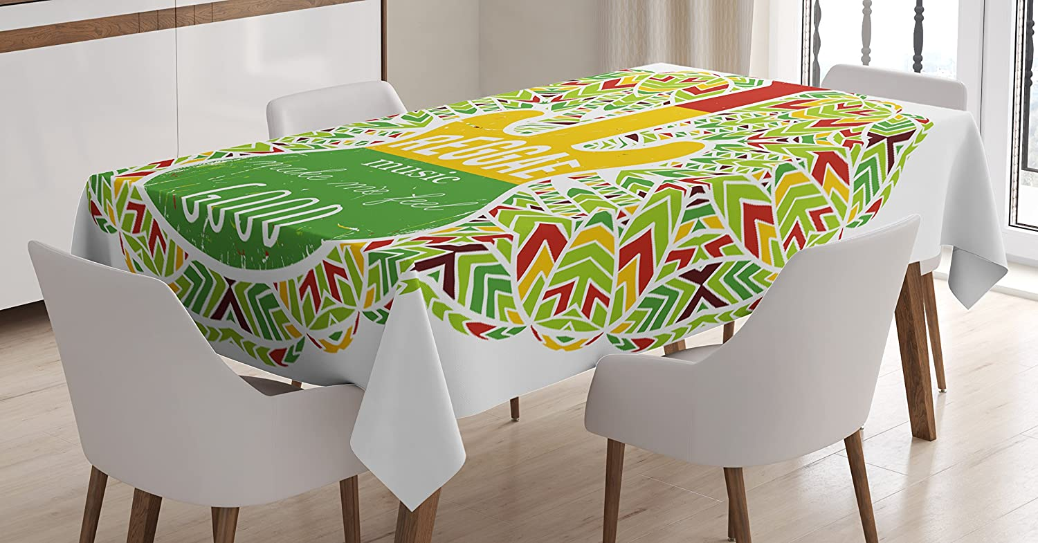 Amazon Com Ambesonne Rasta Tablecloth Reggae Music Makes Me Feel Words Jamaican Island Cultureic Guitar Dining Room Kitchen Rectangular Table Cover 60 X 84 Yellow Green Home Kitchen