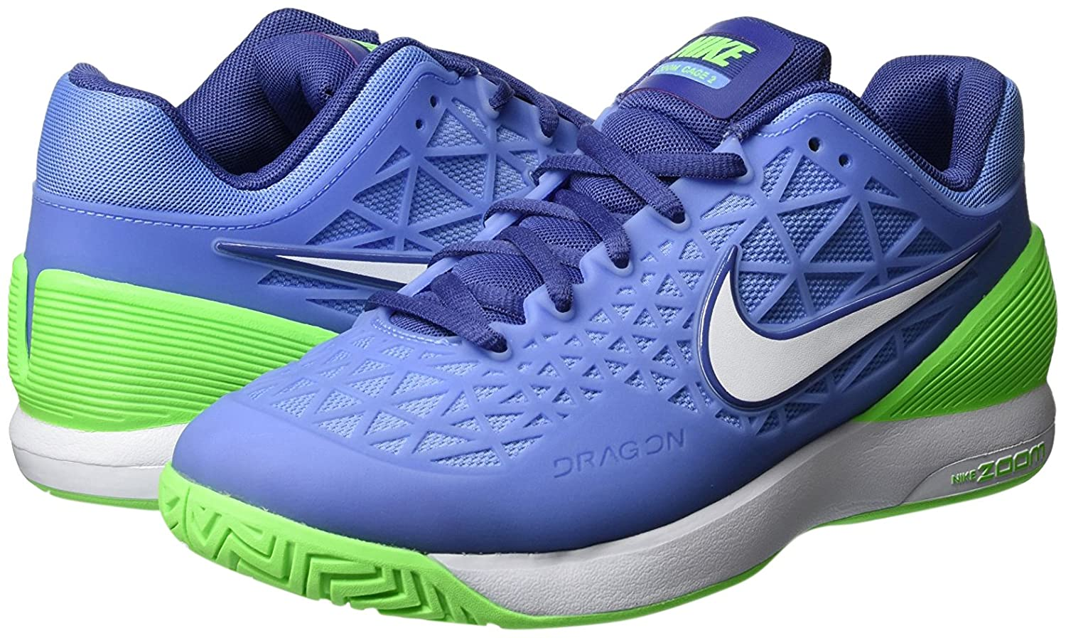 NIKE Women's Zoom Cage 2 Tennis Shoes (Chalk BlueVoltage Green, 7.5)