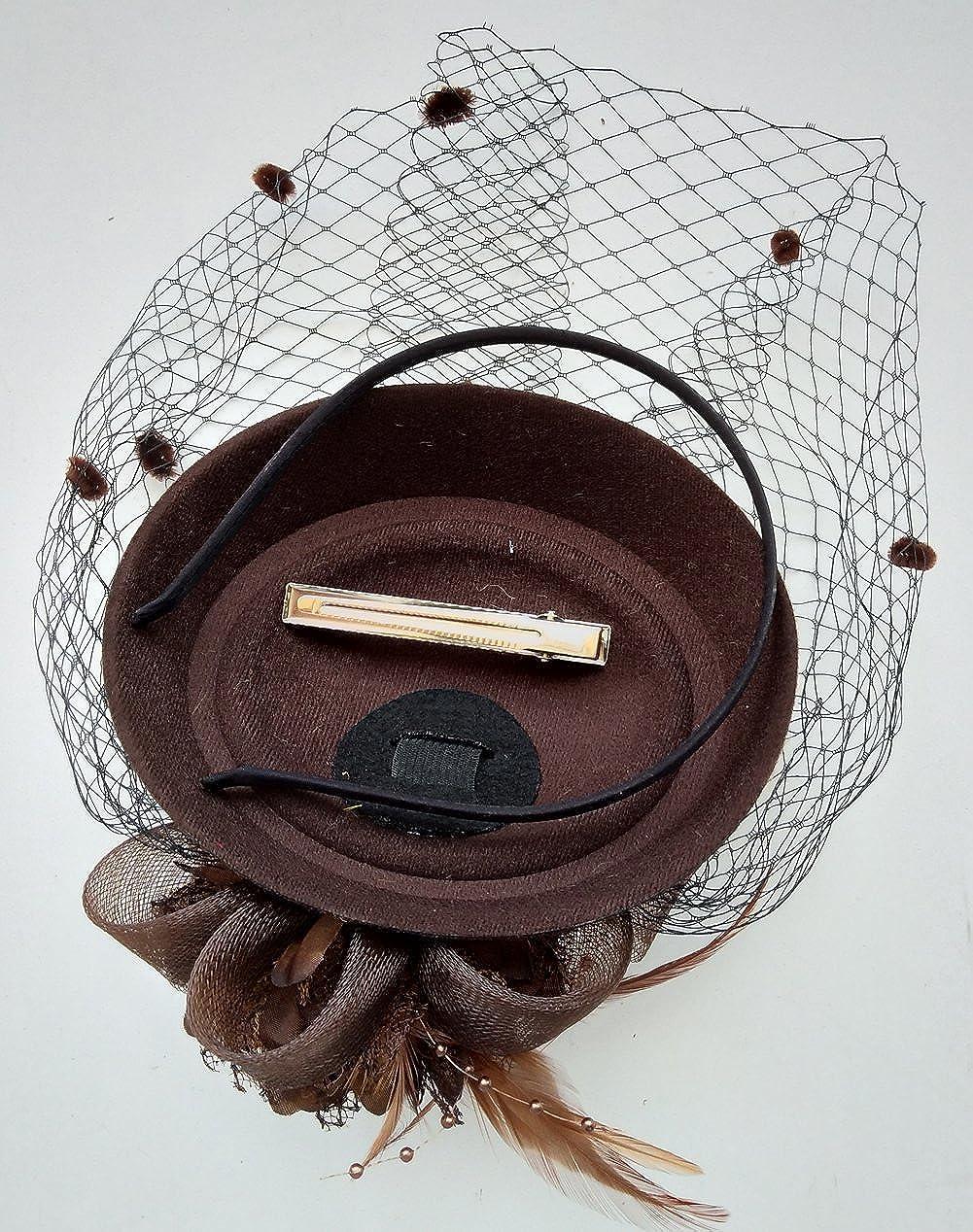 Fascinator Hut Pillbox Hut Britischer Bowler Hut Blumen Schleier Hochzeits Hut Tee Party Hut