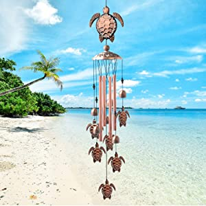zhengshizuo sea Turtle Wind Chimes Outdoor Large deep Tone Turtles Wind Chimes for Outside Mom Gifts Grandma Birthday Outdoors Decor Gifts Tortoise Yard Garden Gift Wind Chimes Outdoor Sympathy