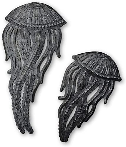 Nautical Home Decor, Set of 2, Sea Life Beach Themed Decorative Plaques, Recycled Wall Art, 10 in. x 5 in, 7 in. x 4 in. Jellyfish Decor