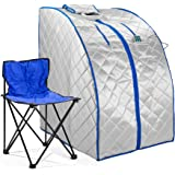 Durasage Infrared IR Far Portable Indoor Personal Spa Sauna with Heating Food Pad and Chair, X-Large, White