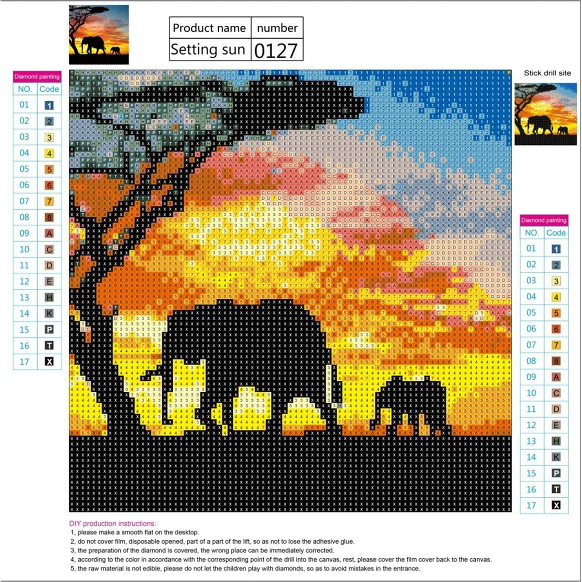 DIY 5d diamante Kit de Pintura,Elefante Sunnay 5D diamond painting Completo Full,Pinturas Diamantes Decoraci/ón,30X30cm