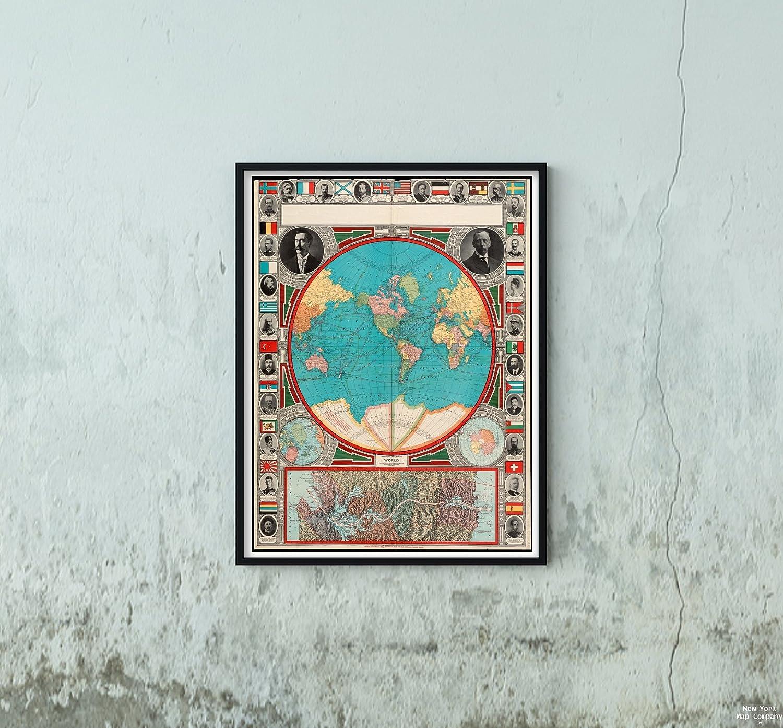 Amazon.com: 1913 Map Panama|Panama Canal|World|Spherical Projection ...