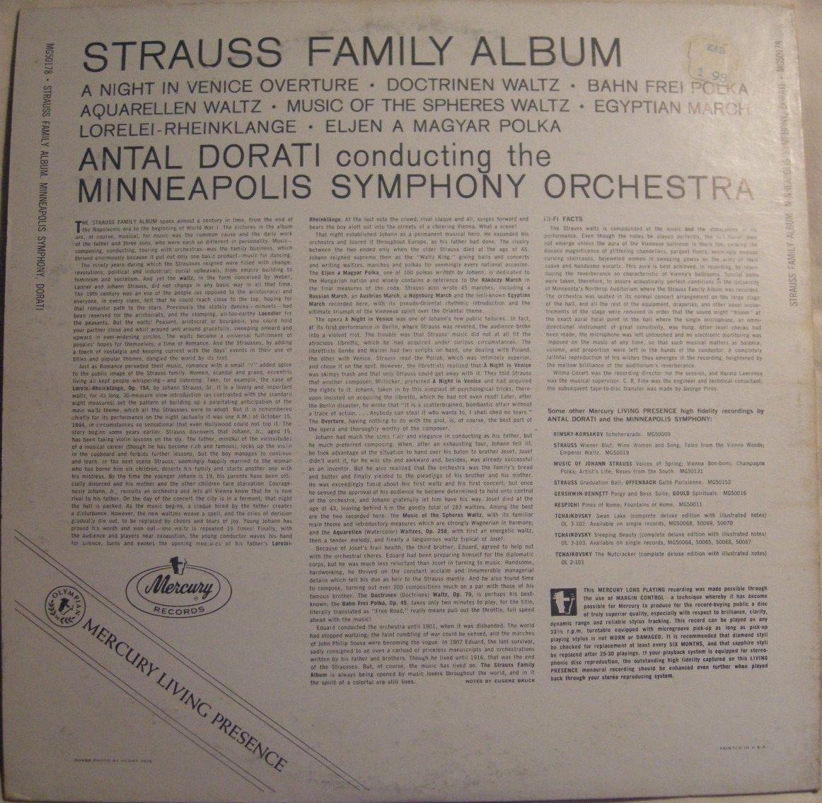 Strauss Family Cheap bargain Album Antal Minneapolis Dorati ...