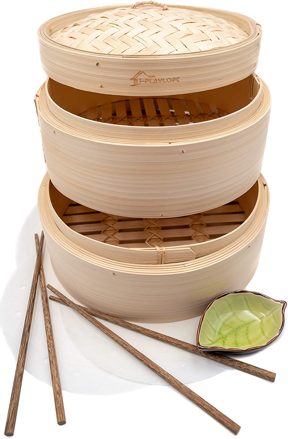 Premium 10 Inch Handmade Bamboo Steamer - Two Tier EXTRA DEPTH Baskets - Dim Sum Dumpling & Bao Bun Chinese Food Steamers - Steam Baskets For Rice, Vegetables, Meat & Fish Included 2 Sets Chopsticks, 20 Liners & Sauce Dish
