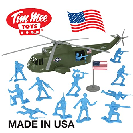 Amazon Com Timmee Plastic Army Men Helicopter Playset Olive Green