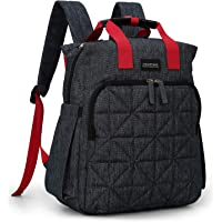 mommore Diaper Bag Backpack Travel Nappy Bag with Changing Pad, Wet Pocket and Stroller Straps for Baby Care, Black