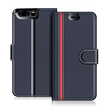 quality design 70e81 236bc COODIO Huawei P10 Case, Huawei P10 Leather Case, Huawei P10 Wallet Case,  Stylish Blue Magnetic Closure Flip Folio Case Cover [Wallet Stand], Card ...