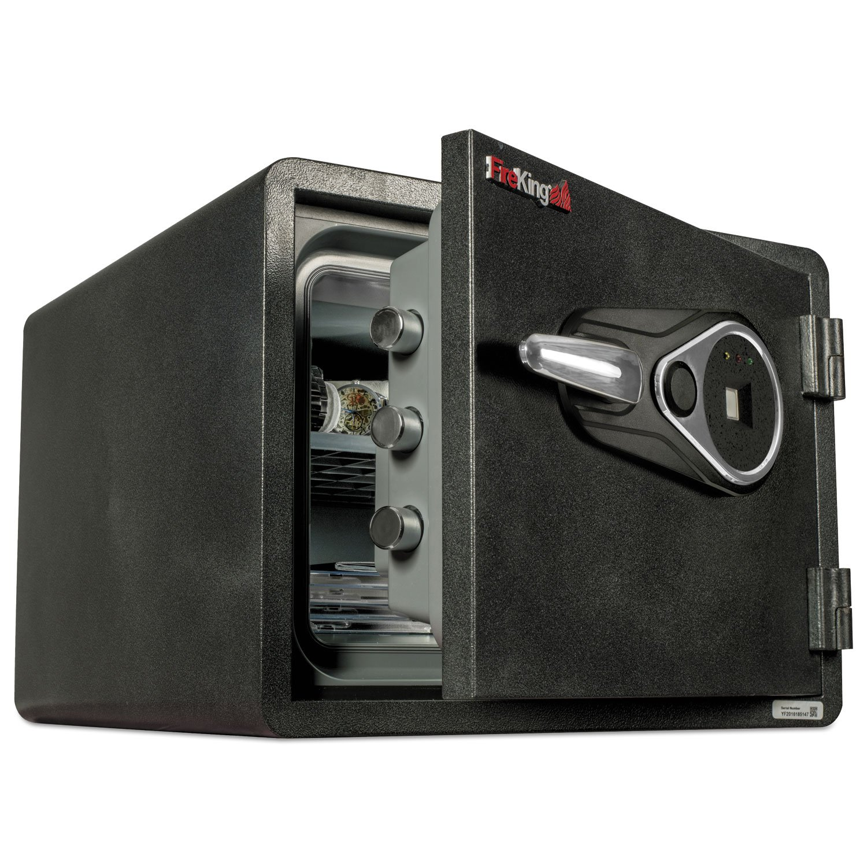 FireKing KY09131GRFL One Hour Fire And Water Safe W/biometric Fingerprint Lock, 0.85 Cu.Ft, Graphite
