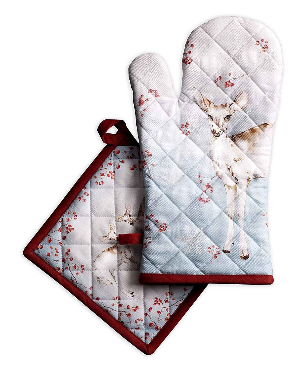Maison d' Hermine Fairytale Forest 100% Cotton Set of Oven Mitt (7.5 Inch by 13 Inch) and Pot Holder (8 Inch by 8 Inch).