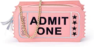 B.Rosy Handbags by Ruby Rose Turner - Showstopper Novelty Girls Purse - Unique Admit One Movie Ticket Shaped Design Vegan Leather Crossbody Bag Chain Strap Shoulder Bag