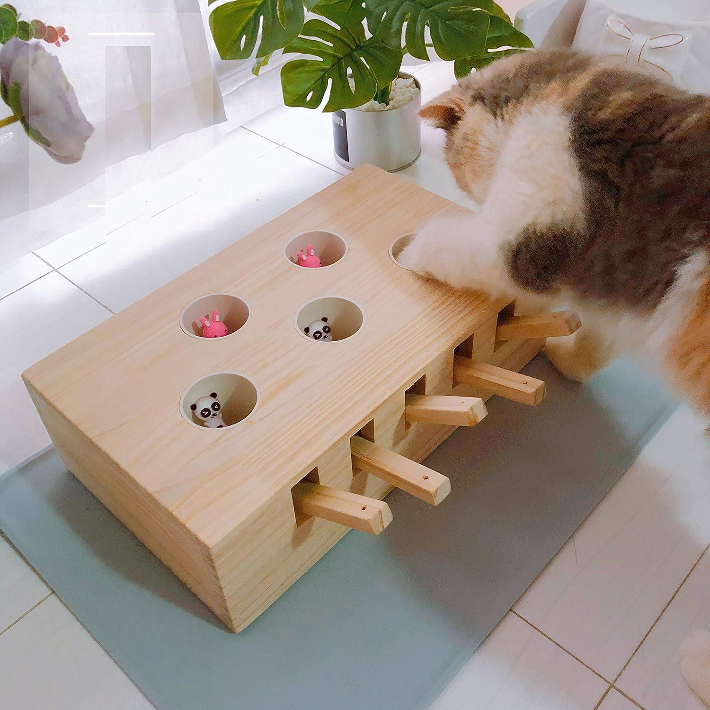 AUSPICIOUSIGN Juego de la Topo interactiva Caja a Juguete Gato Gatito Puzzle de Madera Maciza sólido con ratón hámster para Mascotas