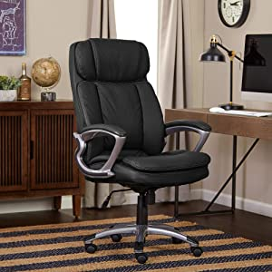 Serta Faux Leather Big & Tall Executive Chair, Black