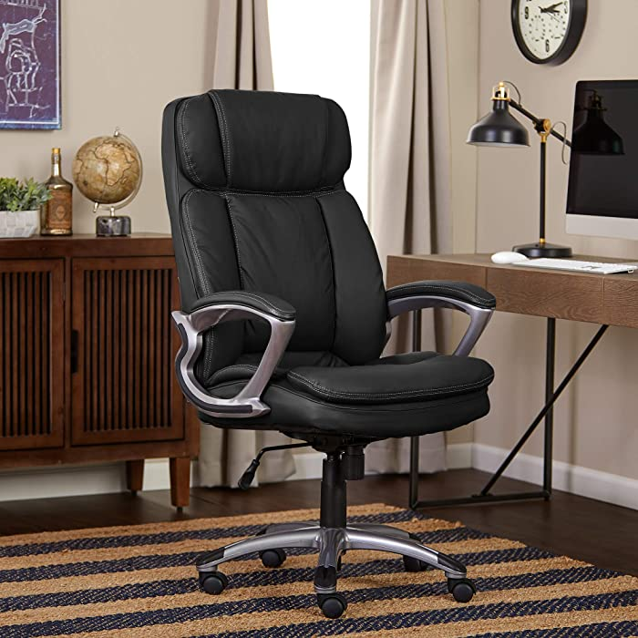 Serta Faux Leather Big & Tall Executive Chair, Black