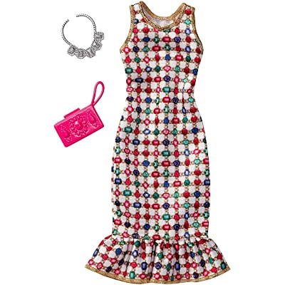 Barbie Fashions Complete Look - Multicolored Gem Dress: Toys & Games