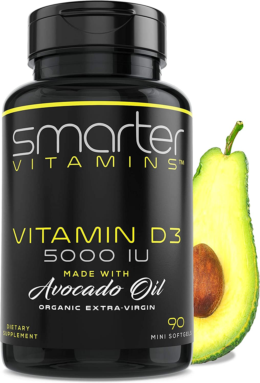 Vitamin D3 5000 IU - Organic Avocado Oil, 90 Mini Softgels, Non-GMO, Soy Free, 125mcg, Gluten Free, Supports Immune Function & Healthy Bones + Teeth, 3 Month Supply