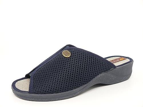 Zapatilla chinela mujer para andar por casa en tejido confort Azul Marino DOCTOR CUTILLAS abierta puntera y talon- 21732 - 46: Amazon.es: Zapatos y ...