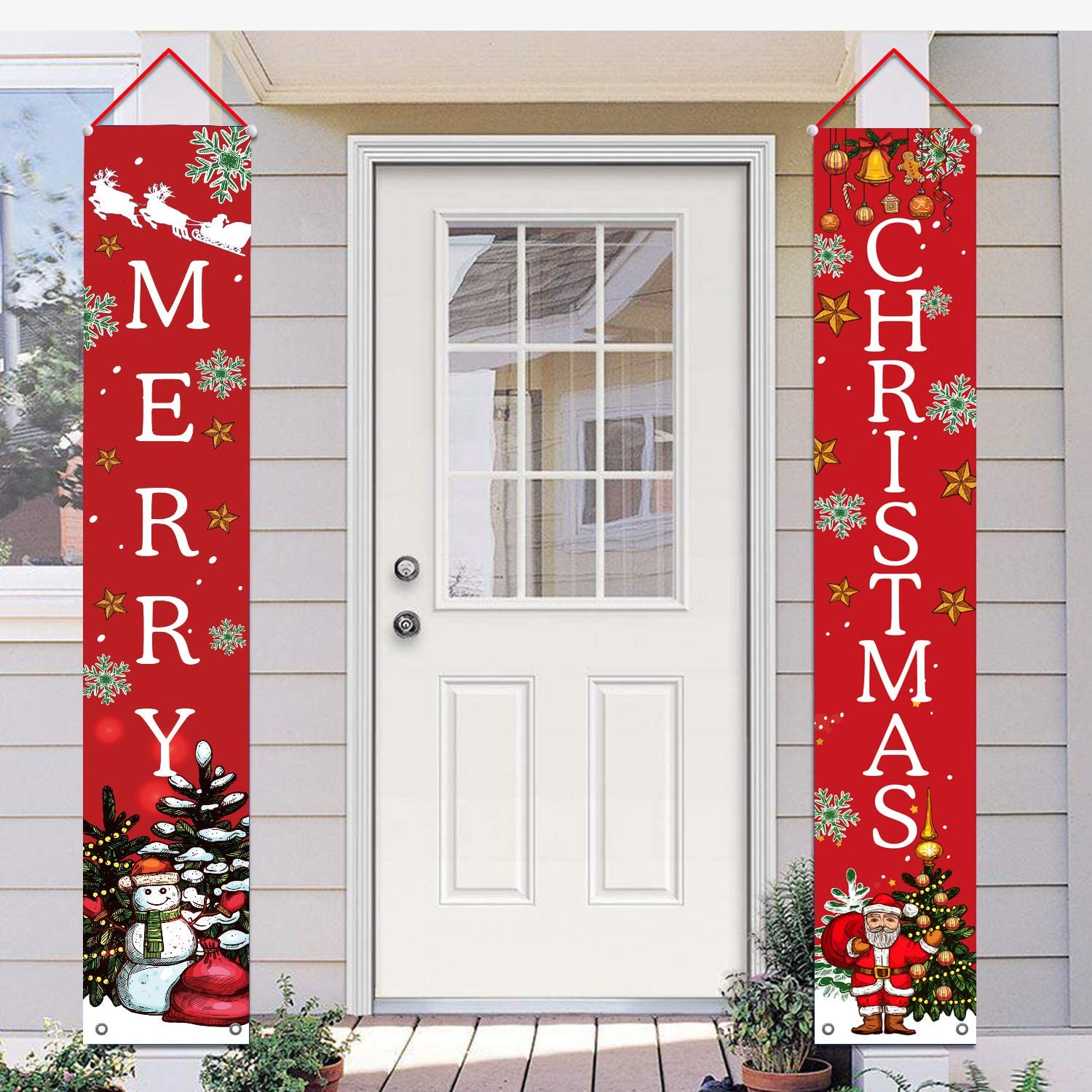 Shmbada Welcome Merry Christmas Party Decor Porch Sign Front Door Hanging Banners Flags, Twill Fabric Wall Decoration for Indoor Outdoor Home Yard Farmhouse, Set of 2