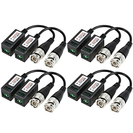 Maxmoral 4 Pairs Gold Plated BNC Video Balun Transceiver Connector,Video Balun BNC Cable,
