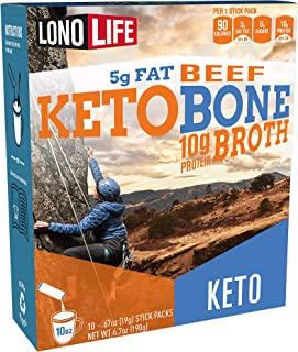 product image for LonoLife Keto Beef Bone Broth Powder, 5g fat, 10g Protein, Paleo and Keto friendly, Stick Packs 10 Count