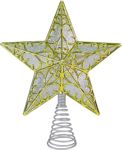 Ornativity Silver Star Tree Topper Christmas Swirl Design Sparkle Star Treetop Ornament