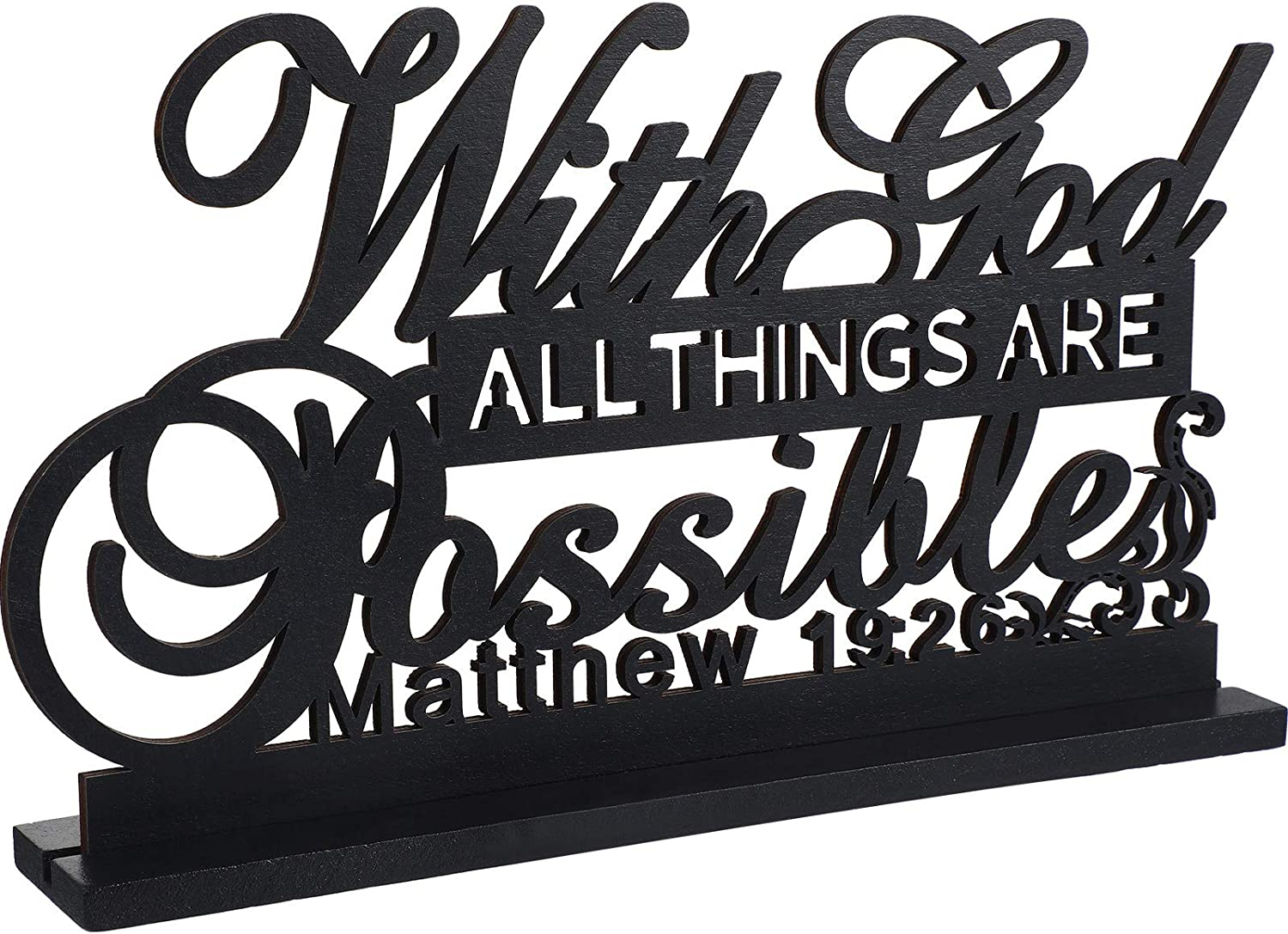 Inspirational Table Art with God All Things are Possible Positive Sign Home Table Decoration, Motivational Table Centerpieces Letter Sign Wooden for Faith Motivational Decoration Home, Office