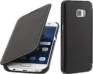 StilGut Housse pour Samsung Galaxy S7 en Cuir véritable à Ouverture latérale, Noir