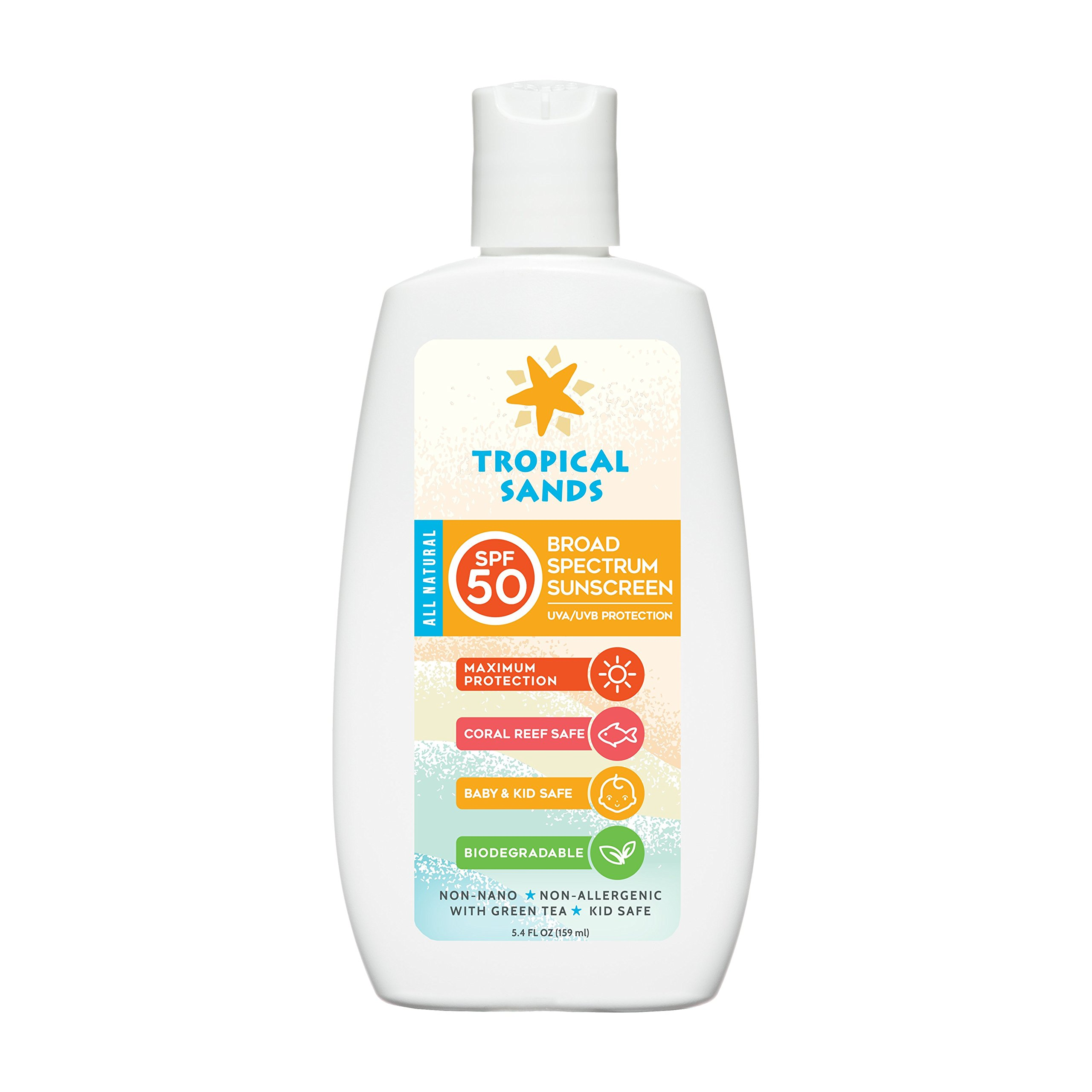 All Natural SPF 50 Biodegradable Visible Mineral Sunscreen by Tropical Sands, Reef Safe, 5.4 Fl Ounces