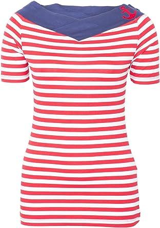09eefeb92087be Küstenluder Damen Oberteil Larea Sailor Streifen Anker Shirt  Amazon ...