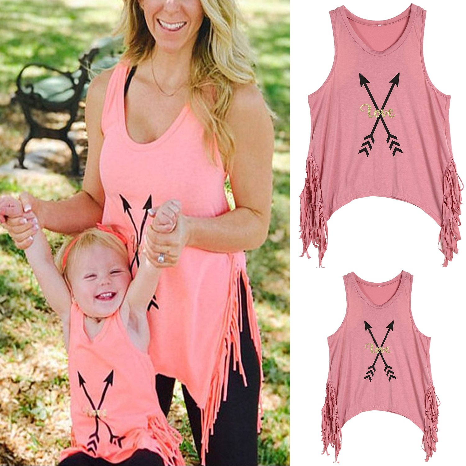 WIFORNT Mommy and Me Matching Letter Print Tank Top Sleeveless Tassel T-Shirt Vest Family Shirts Outfits