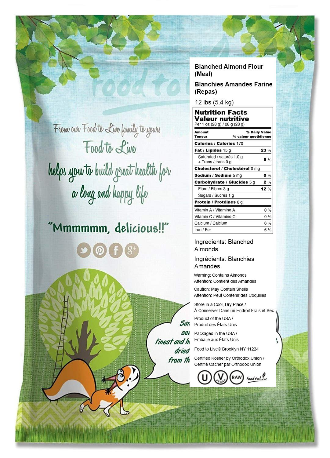 Food to Live Blanched Almond Meal / Flour (Kosher) (12 Pounds) by Food to Live  (Image #2)