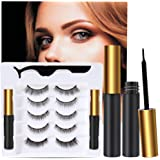5 Pairs Reusable 5D Magnetic Lashesand Eyeliner Kit, Best Magnetic Eyeliner forMagnetic Lashes Kit, Comes With 2 Tubes of M