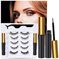 5 Pairs Reusable 5D Magnetic Lashes and Eyeliner Kit, Best Magnetic Eyeliner for Magnetic Lashes Kit, Comes With 2 Tubes of Magnetic Eyeliner-Easy to Use