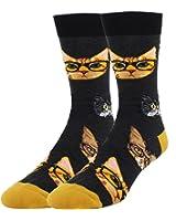 Happypop Men's Novelty Cool Combed Cotton Funny Dress Crew Socks