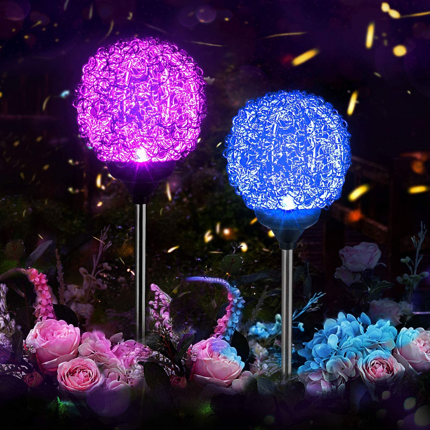 Waterproof LED Solar Powered Flower Lights,Outdoor Garden Colourful Rose Stake Lamp for Garden Patio Yard Pathway Party Holiday Decoration Solar Garden Lights