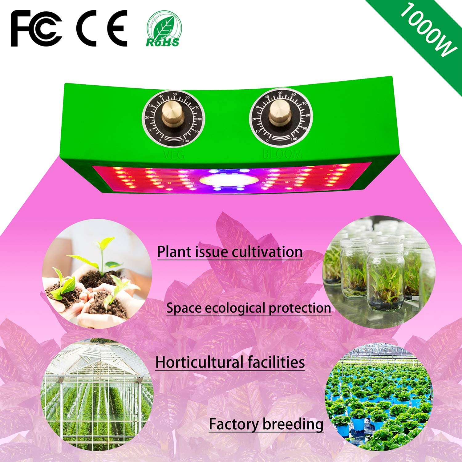 LED Plant Grow Light 1000W COB Full Spectrum Sunlike Red Blue Growth Lamp for Hydroponic Indoor Plants and Adjustable Double Switch Greenhouse Growing Lights Fixtures for Veg and Bloom