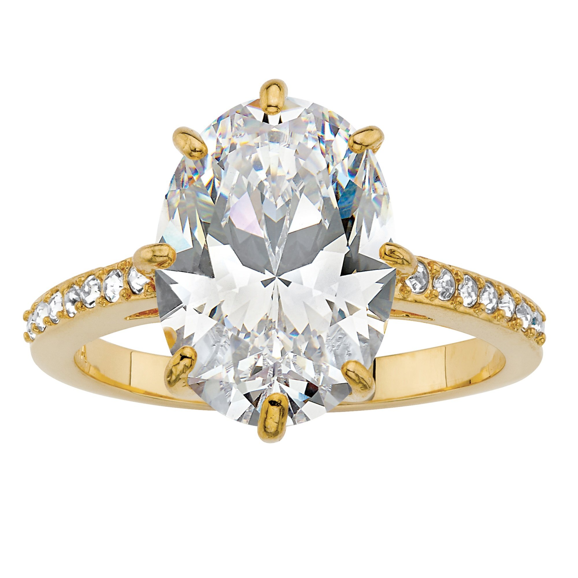 14K Gold-plated Cubic Zirconia and Crystal Engagement Ring Made With Swarovski Elements Size 9