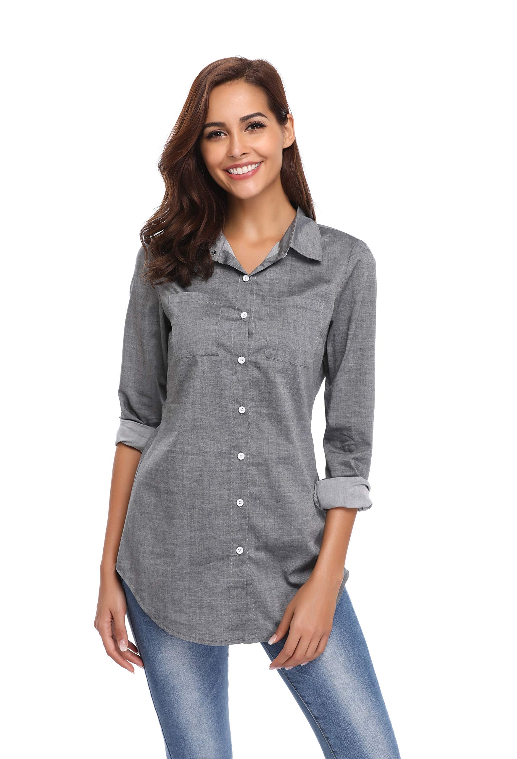 Argstar Women's Chambray Button Down Shirt Long Sleeve Jeans Top,Gray,Large (US 12-14) by Argstar (Image #2)